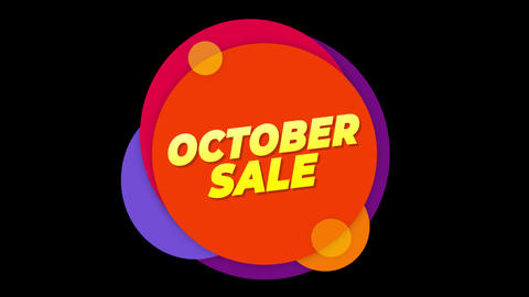 October Sale Text Sticker Colorful Sale Popup Animation Live Action