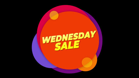 Wednesday Sale Text Sticker Colorful Sale Popup Animation Footage
