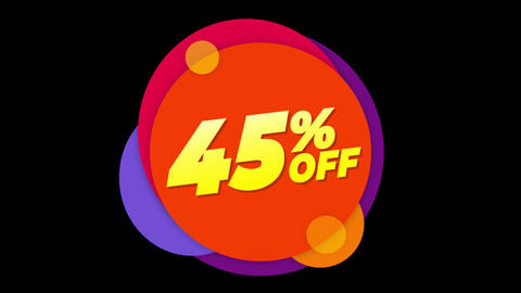 45% Percent Off Text Flat Sticker Colorful Popup Animation Live Action