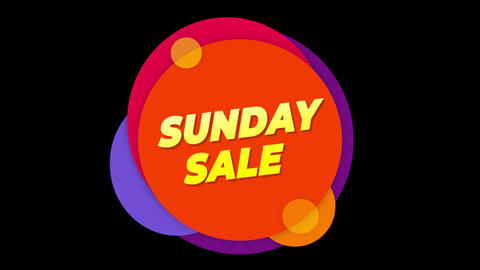 Sunday Sale Text Sticker Colorful Sale Popup Animation Footage