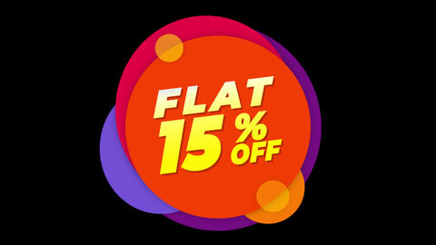 Flat 15% Percent Off Text Flat Sticker Colorful Popup Animation Live Action