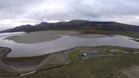 Aerial View of a lake in Wales Live Action