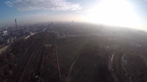 Aerial panorama of West End from Regents Park Stock Video Footage