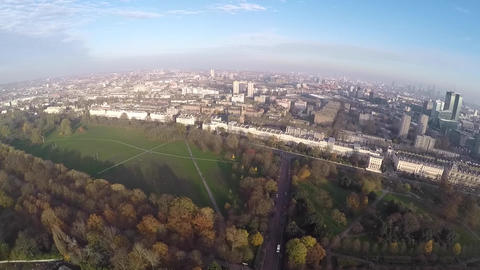 Aerial panorama of West End from Regents Park Live Action