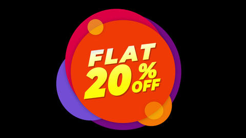 Flat 20% Percent Off Text Flat Sticker Colorful Popup Animation Live Action