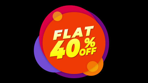 Flat 40% Percent Off Text Flat Sticker Colorful Popup Animation Live Action