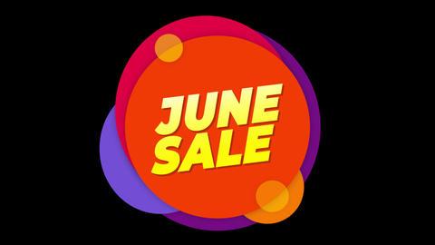 June Sale Text Sticker Colorful Sale Popup Animation Footage