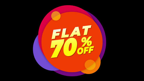 Flat 70% Percent Off Text Flat Sticker Colorful Popup Animation Live Action