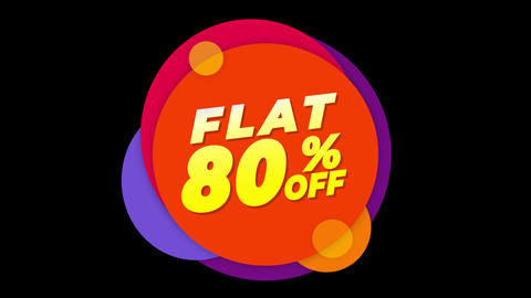 Flat 80% Percent Off Text Flat Sticker Colorful Popup Animation Live Action
