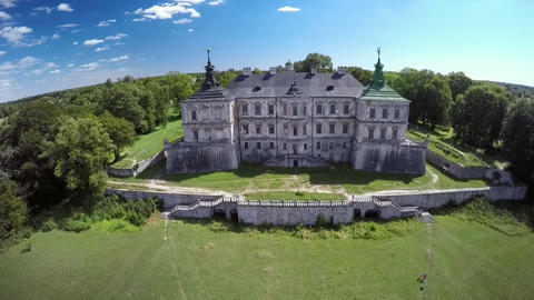 Bird's view of an old castle from above (aerial view) Live Action