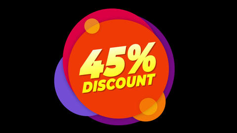 45% Percent Discount Text Flat Sticker Colorful Popup Animation Live Action