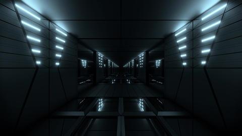 silver stylish dark sci-fi tunnel qith nice glow 3d illustration background Animation