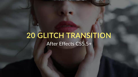 20 Glitch Transitions After Effects Template