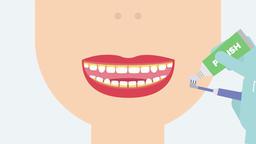 Brushing teeth (baby teeth cleaning). 2D dental video 4K Animation
