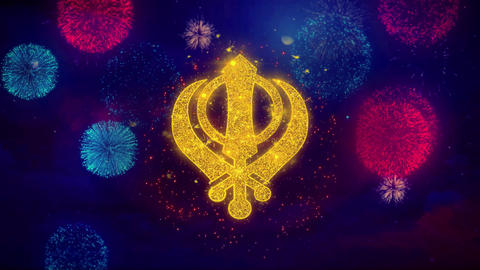Khanda, religion, religious symbol, sikhism Icon Symbol on Colorful Fireworks Live Action