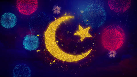 Star and Crescent symbol Islam religion Icon Symbol on Colorful Fireworks Live Action
