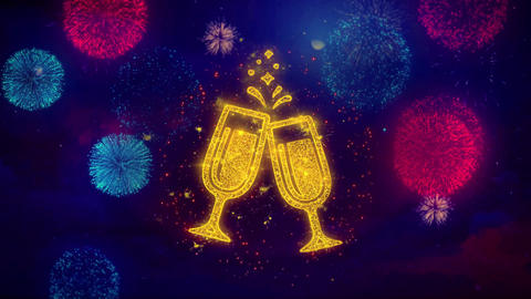 Cheers Celebration Toast Two Glasses Champagne Icon Symbol on Colorful Fireworks Footage