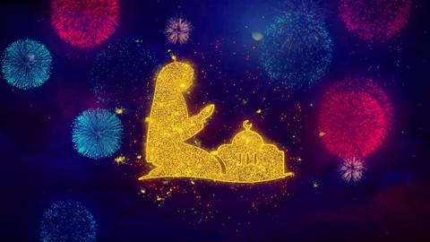 Dua,namaz,praying,islam,islamic Icon Symbol on Colorful Fireworks Particles Live Action
