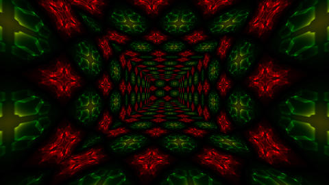 Beautiful Abstract Square Tunnel with Red Light Lines Moving Fast. Set of Several Video Elements. Animation