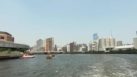 View from the ship. View from the crossing of the river and bridge. Sumida River, Tokyo Live Action