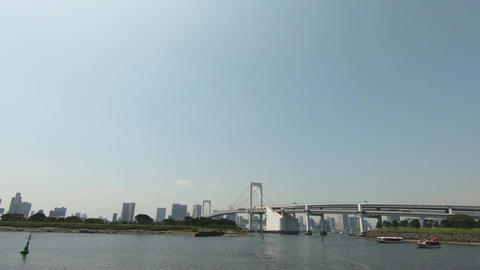 Tokyo's famous bridge seen from the sea Footage