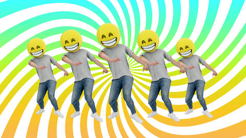 Animated Team Human Funny and Lucky Dynamic Dancing in Comical Rhythm Beat Loop Live Action