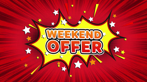 Weekend Offer Text Pop Art Style Comic Expression Footage