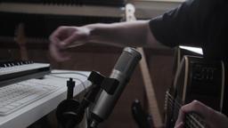 Musician Recording Acoustic Guitar Live Action