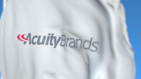 Waving flag with Acuity Brands logo, close-up. Editorial loopable 3D animation Live Action