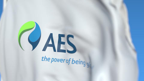 Flying flag with Aes Corporation logo, close-up. Editorial loopable 3D animation Live Action
