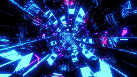 abstract glowing and reflective pattern tunnel design 3d illustration motion Animation