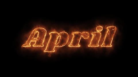April Word Hot Animated Burning Realistic Fire Flame Loop Footage
