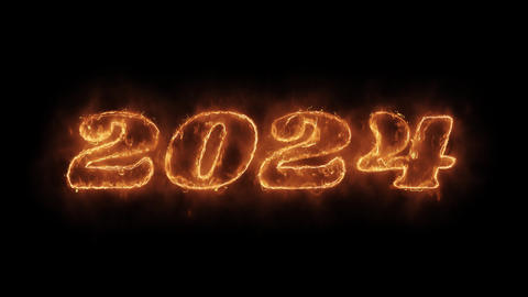 New Year 2024 Word Hot Animated Burning Realistic Fire Flame Loop Live Action