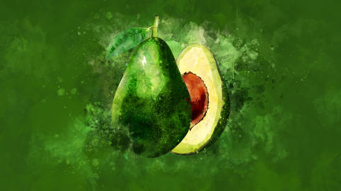 The appearance of the avocado on a watercolor background Animation