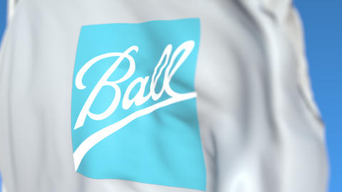 Flying flag with Ball Corporation logo, close-up. Editorial loopable 3D Live Action
