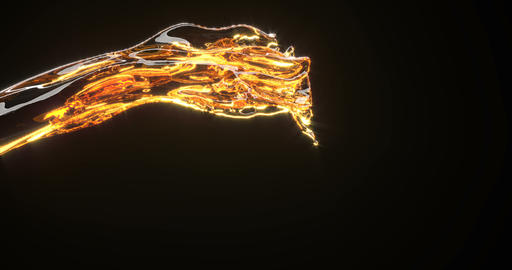 Golden liquid stream 3d realistic footage Footage