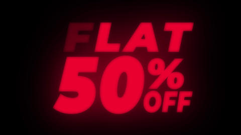 Flat 50% Percent Off Text Flickering Display Promotional Loop Live Action
