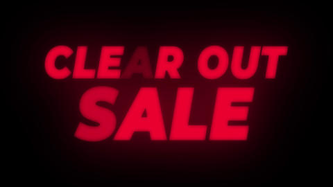 Clear Out Sale Text Flickering Display Promotional Loop Footage