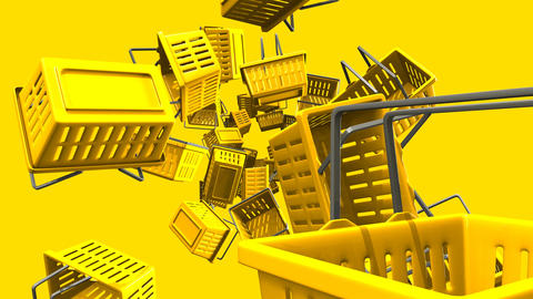 Yellow shopping baskets on yellow background Animation