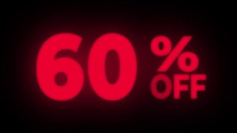 60% Percent Off Text Flickering Display Promotional Loop Live Action