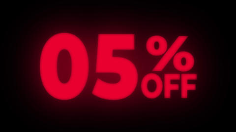 05% Percent Off Text Flickering Display Promotional Loop Live Action