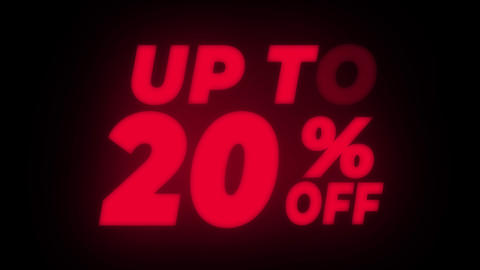 Up To 20% Percent Off Text Flickering Display Promotional Loop Live Action