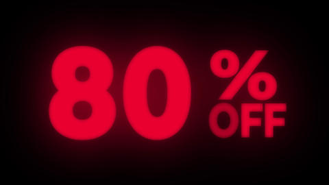 80% Percent Off Text Flickering Display Promotional Loop Live Action