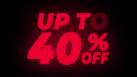 Up To 40% Percent Off Text Flickering Display Promotional Loop GIF