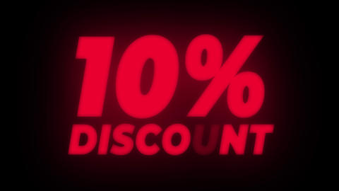 10% Percent Discount Text Flickering Display Promotional Loop Live Action