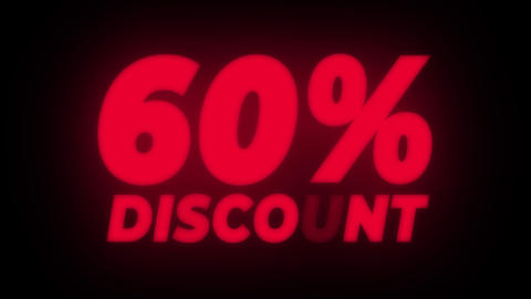 60% Percent Discount Text Flickering Display Promotional Loop Live Action