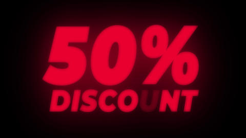 50% Percent Discount Text Flickering Display Promotional Loop Live Action