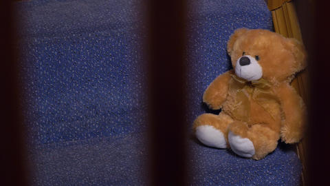 Teddy Bear Toy On Stairs Footage
