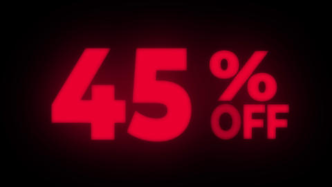 45% Percent Off Text Flickering Display Promotional Loop Live Action
