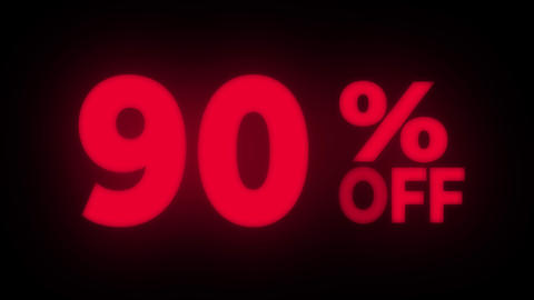 90% Percent Off Text Flickering Display Promotional Loop Live Action